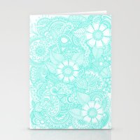 Henna Design - Aqua Stationery Cards