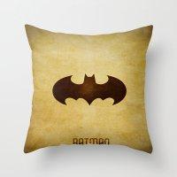 Bat Man Throw Pillow