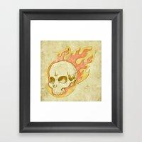 Flaming Skull Framed Art Print
