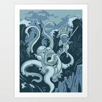 King Neptune Vs. The Sea Monster Art Print