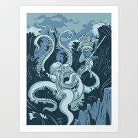 King Neptune Vs. The Sea… Art Print