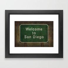 Welcome to San Diego road sign illustration Framed Art Print