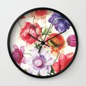 XI. Vintage Flowers Botanical Print by Pierre-Joseph Redouté - Anemones Wall Clock