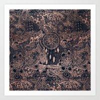 Boho rose gold dreamcatcher floral navy blue Art Print
