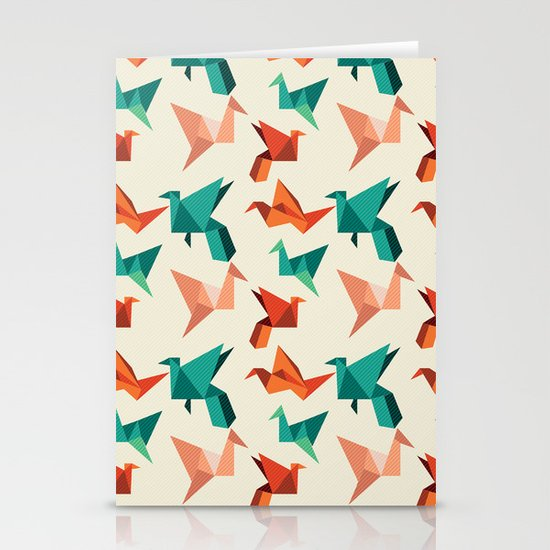 teal paper cranes Stationery Card
