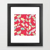 Gingko Leaves On Red Framed Art Print
