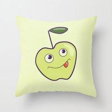 Smiling Green Cartoon Apple Throw Pillow