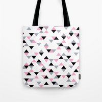 Triangles Black and Pink Tote Bag