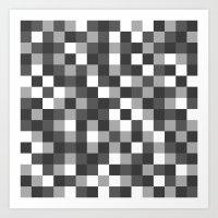 Colour Block Black and White Art Print