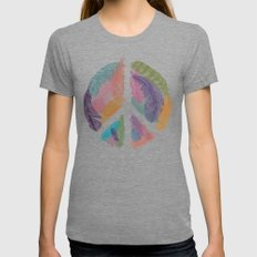 Feathers for Peace (Peace Sign) Womens Fitted Tee Tri-Grey SMALL