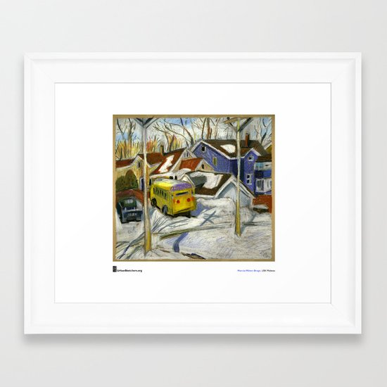 "Marcia Milner-Brage, ""School Bus in Vacant Lot"" Framed Art Print"