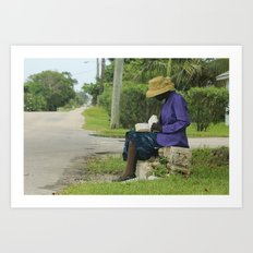 Eleutheran woman reading the Bible on the side of a street Art Print