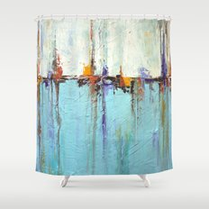 Abstract White And Blue … Shower Curtain
