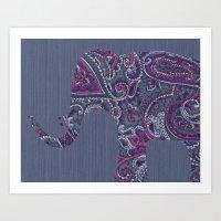 Paisley Elephant Art Print