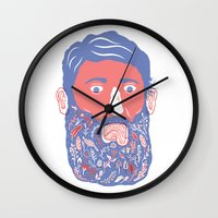 Flowers In Beard Wall Clock