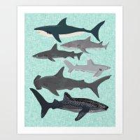Sharks nature animal illustration texture print marine biologist sea life ocean Andrea Lauren Art Print