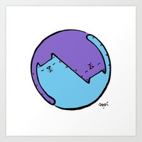 yin yang cat  Art Print