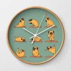 Pug Yoga Wall Clock