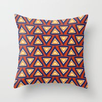 Blue Orange Triangles Throw Pillow