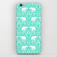 Elephant Damask Mint iPhone & iPod Skin