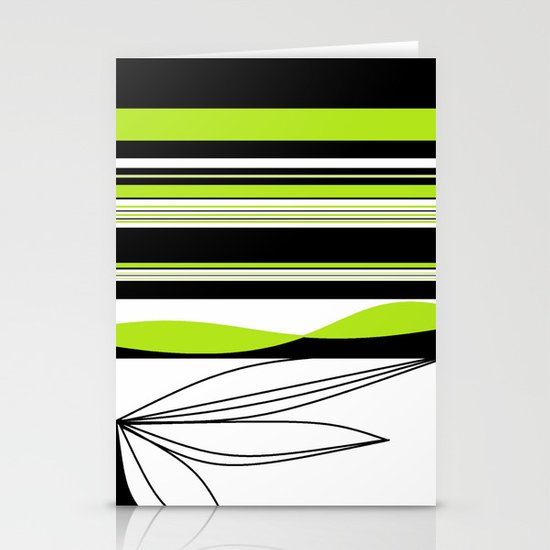 Green White Black Lines Stationery Card