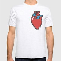 i heart 8-bit Mens Fitted Tee Ash Grey SMALL