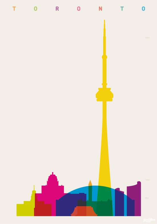 Shapes of Toronto. Accurate to scale Art Print