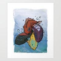 Kiss Fish Art Print