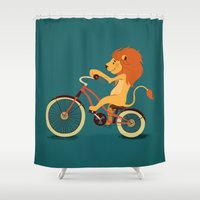 Lion on the bike Shower Curtain