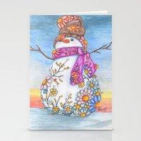 Sunset Daisy Snowman Stationery Cards