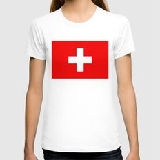 Flag of Switzerland - Authentic 2:3 scale version Womens Fitted Tee White SMALL