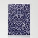 Chalkboard Floral Doodle Pattern in Navy & Cream Stationery Cards