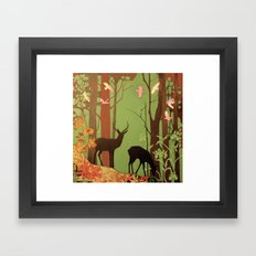deer in forest Framed Art Print