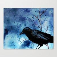 Crow Veins Watercolor/Pe… Canvas Print