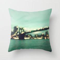 Blurry Brooklyn Bridge Throw Pillow