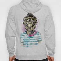 Hipster Lion on Black Hoody
