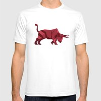 Origami Bull Mens Fitted Tee White SMALL