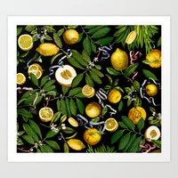 LEMON TREE Black Art Print