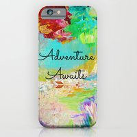 iPhone & iPod Case featuring ADVENTURE AWAITS Wanderlust Typography Explore Summer Nature Rainbow Abstract Fine Art Painting by EbiEmporium