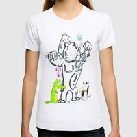Cartoon Friends Womens Fitted Tee Ash Grey SMALL
