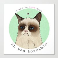 Grumpy cat love Canvas Print