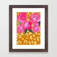 Floral And Tiger Print Framed Art Print
