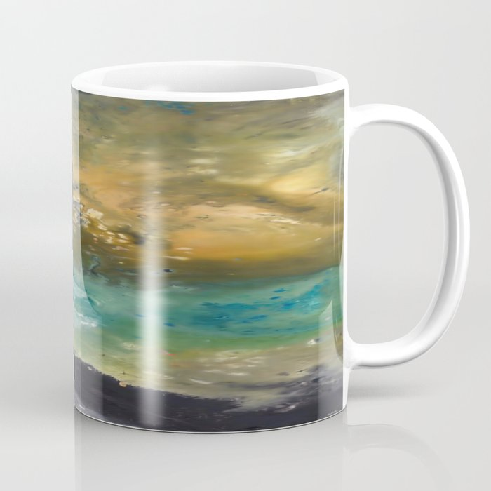 abstract acrylic painting the mountain mug by saribelle
