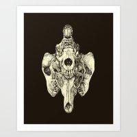 Coyote Skulls - Black An… Art Print