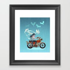 Motorcycle Couple Framed Art Print