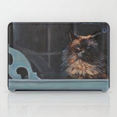 Ragdoll Cat Blue Eyes Inside (screen door with gingerbread)  iPad Case