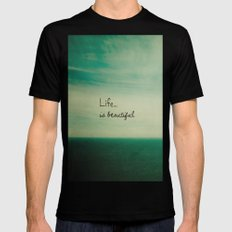 Life is Beautiful Mens Fitted Tee Black SMALL