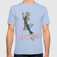 The Amazing MERMAID Mens Fitted Tee Tri-Blue SMALL