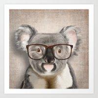 A Baby Koala With Glasse… Art Print