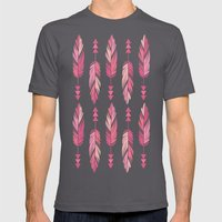 Painted Feathers-Gray Mens Fitted Tee Asphalt SMALL